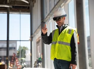 construction worker conducting virtual site visit