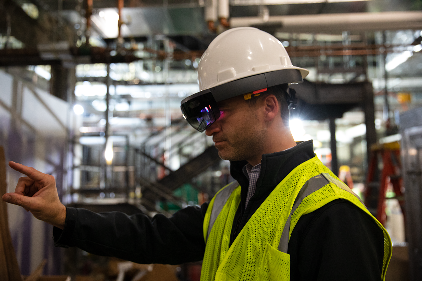 Construction worker wearing HoloLens
