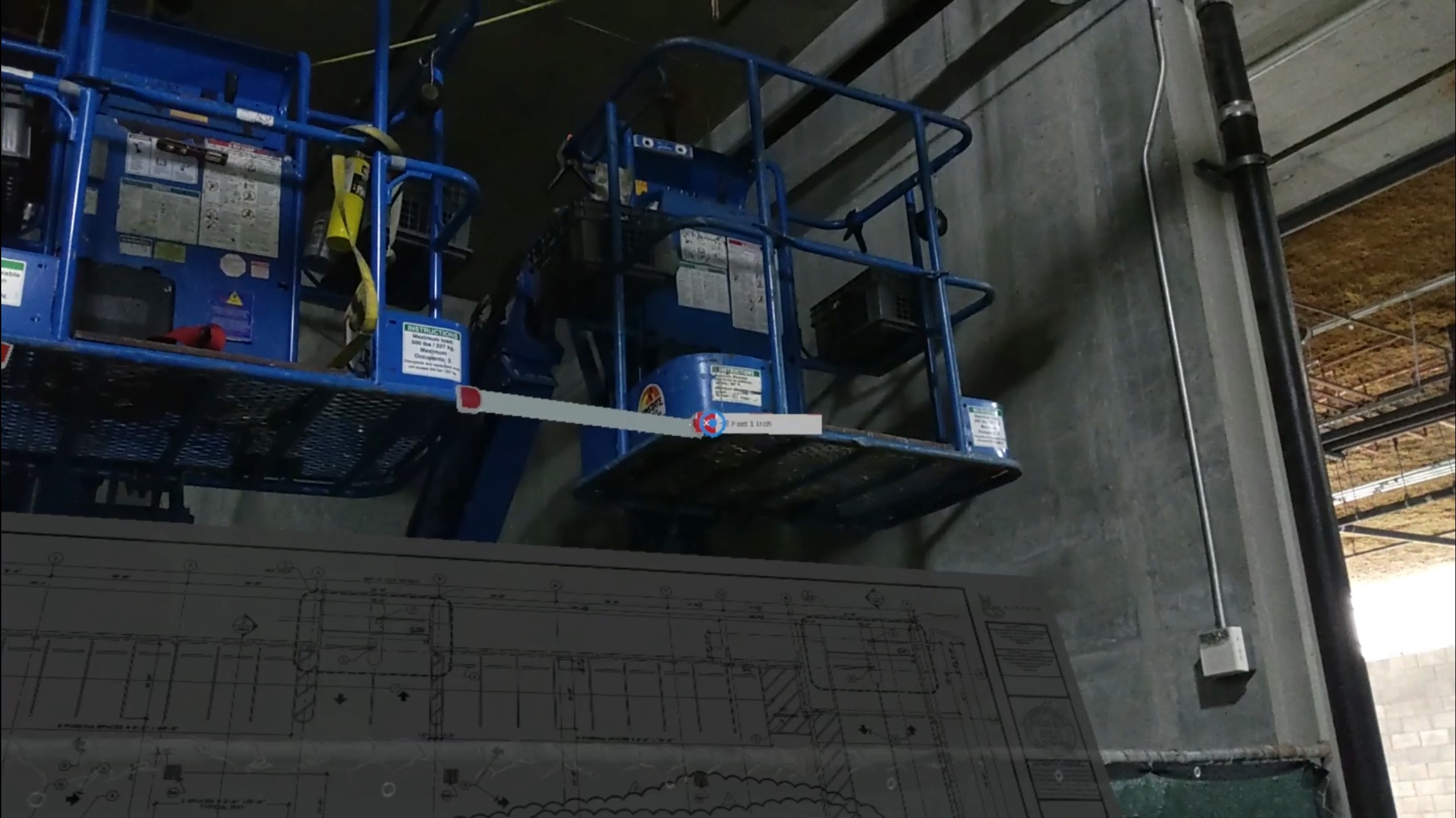 Construction site with AR annotations